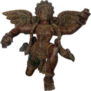 Exceptional 19th century Carved & Painted Hindu Angel