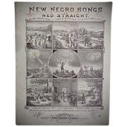 Rare 1880 Negro Sheet Music by Ned Straight Down by the Rainbow