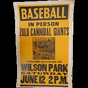 Negro League Baseball Broadside Zula Cannibal Giants