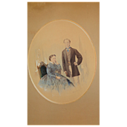 Watercolor portrait of Belfast,Ireland Couple by Marcus Ward & Co.