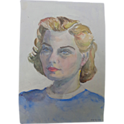 Art Deco Painting of Attractive Blond Woman