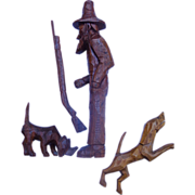 SOLD Appalachia Folk Art Wood Carving of Hunter with Bird Dogs