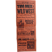 "Circus and Wild West Broadside Cowboy Tim Mix Jr. ESTRELLA, the Dynamic ""Blond Bombshell"""