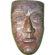 Primitive Mask Carved out of Redwood signed Grants Pass,Oregon 1929
