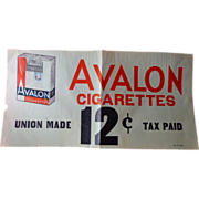 Avalon Cigarette Advertising Store Poster c.1930's