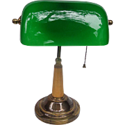 Classic Art Deco Bankers Lamp with Green Glass Shade