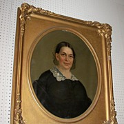1855 Virginia Plantation Oil Painting of Antebellum Lady in Court Frame
