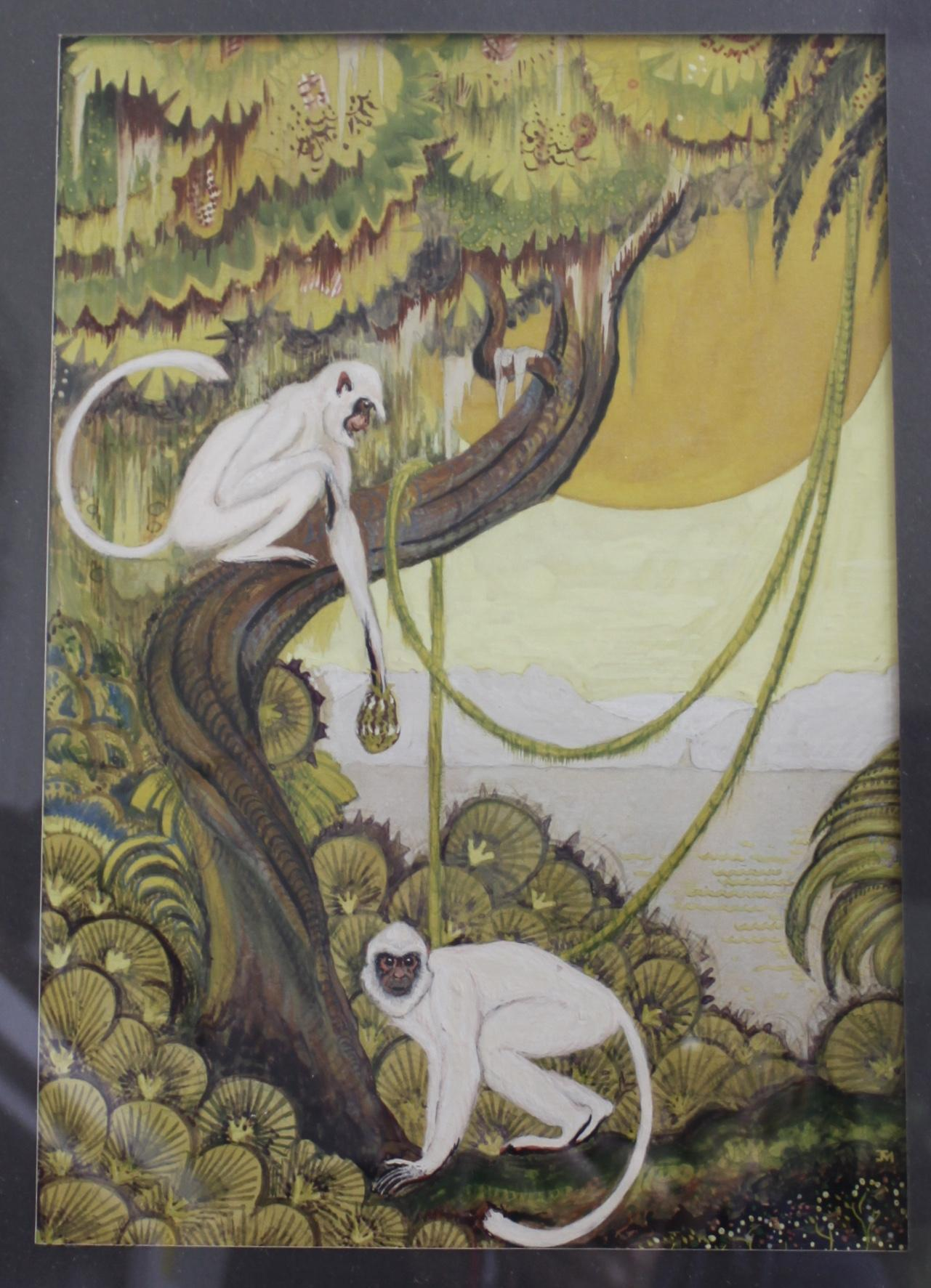 Art Deco Monkeys, Gouache Painting, Circa Late 1920's