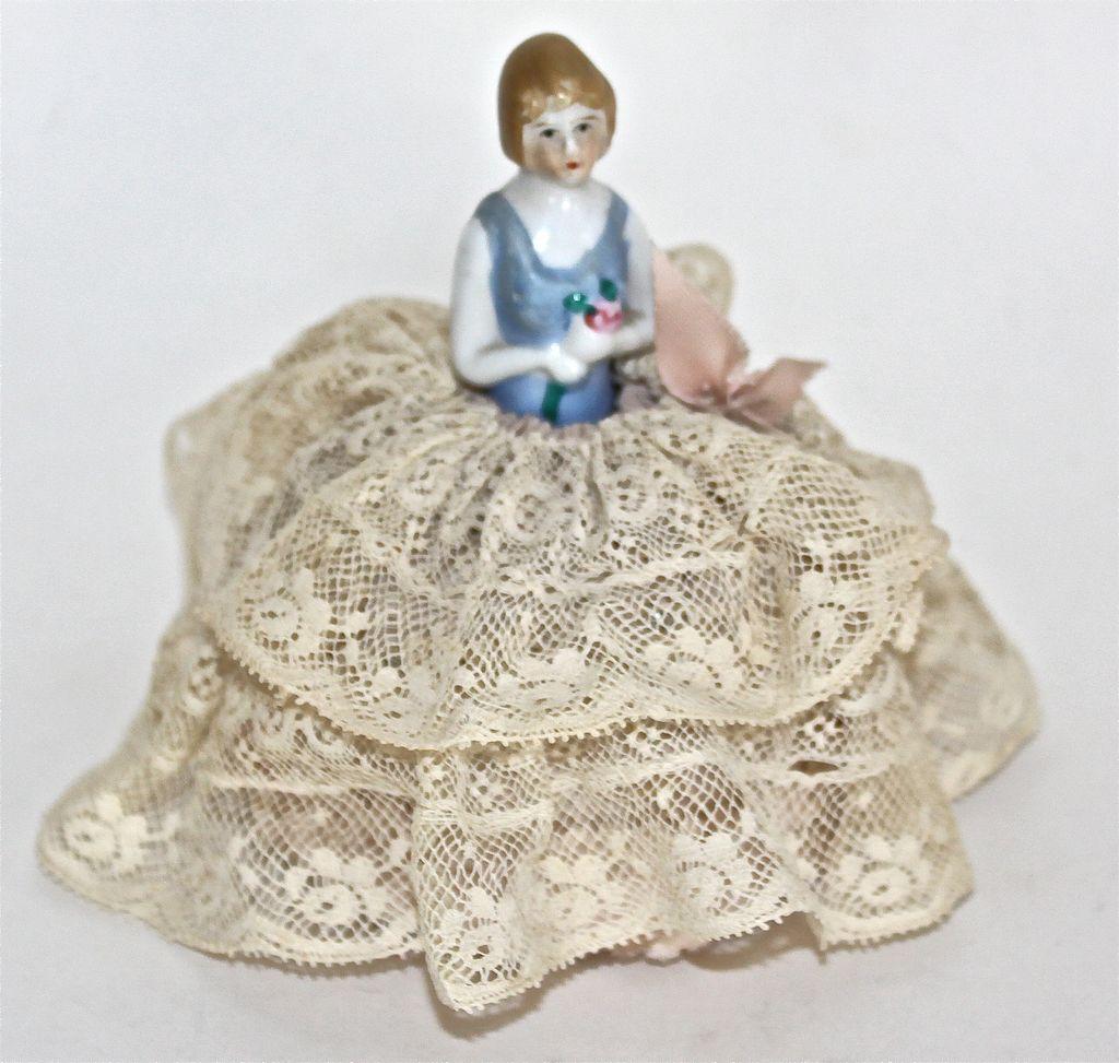 Porcelain Half Doll pincushion in original state