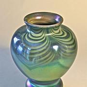 John Barber Hand Blown Iridescent Art Glass Vase C. 1982