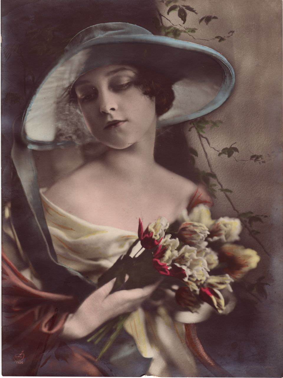 Hand-Tinted Silver Gelatin Photograph of a Young Woman C. 1918-1920