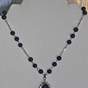 Lapis Lazuli Pendant Choker Length Necklace