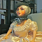 """Marlene, an early 1930's 27"""" tall composition and cloth Boudoir Doll"""