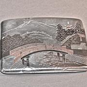Japanese Art Deco Sterling Silver Cigarette Case