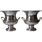 Pair of Victor Obler Silverplate Wine Coolers in the Georgian Manner