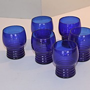 Six Imperial Glass Company Ritz Blue 4 oz. Cocktail Tumblers