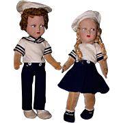 Extremely Rare Pair of English Farnell Sailor Dolls Boy and Girl Lenci Type Felt