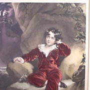 Superb Antique Mezzotint of Young Master Charles Wm. Lambton by Sir Lawrence Thomas