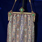 Antique Jeweled Frame Microbeaded Carpet Design Handbag Purse