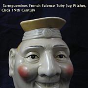 Huge Sarreguemines French Majolica Jolly Character Jug