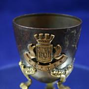 French Art Nouveau Antique Bronze Egg Cup from Verdun