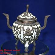 Antique Chinese Enamel Censer with Buddhist Symbols