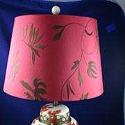 Beautiful MEIJI SATSUMA Table Lamp with Chrysanthemums