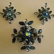 Sparkling Vintage Aurora Borealis Blue Rhinestone Demi Parure- Large Brooch and Clip Earrings