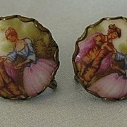 Pretty Italian Fragonard Portrait Porcelain Screwback Earrings- 1930's