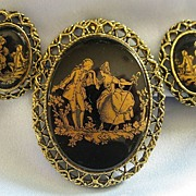 "Pretty Vintage ""Courting Couple"" Demi Parure- Brooch and Clip Earrings"
