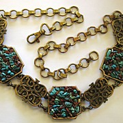 Fabulous Chunky Turquoise and Carnelian Nugget Brass Tone Metal Medallion and Chain Belt