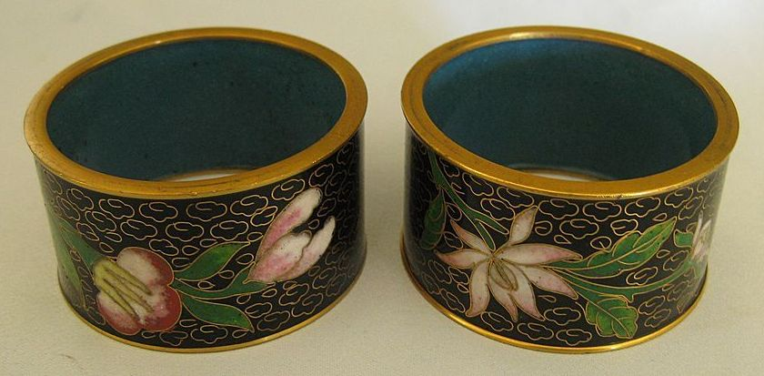 Lovely Vintage (Florals With Black Background) Enamel on Brass Cloisonne Napkin Rings- Pair