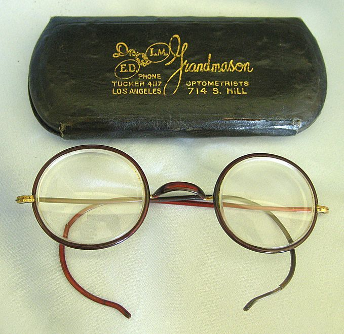 """Wonderful Vintage Round """"Owl"""" Spectacles Celluloid with 12K Gold Fill- Advertising Case"""