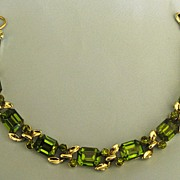 Sparkling Vintage Green Rhinestone Bracelet from Japan