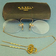 """Wonderful Antique 12K GF """"Pince Nez"""" Spectacles with Ornate Hair Pin and Chain with Original Case"""