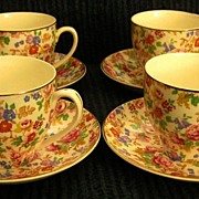 Vintage English Roses Chintz Porcelain Cups and Saucers- 4 sets!