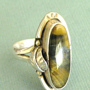 Gorgeous Vintage Signed Agate Sterling Silver Ring- Size 6 3/4