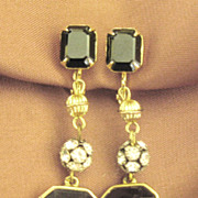 Stunning Black Glass Cabochon and Rhinestone Rondelles Dangle Earrings