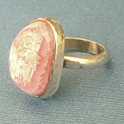 Lovely Modernist Large Pink Rhodocrosite Sterling Silver Ring