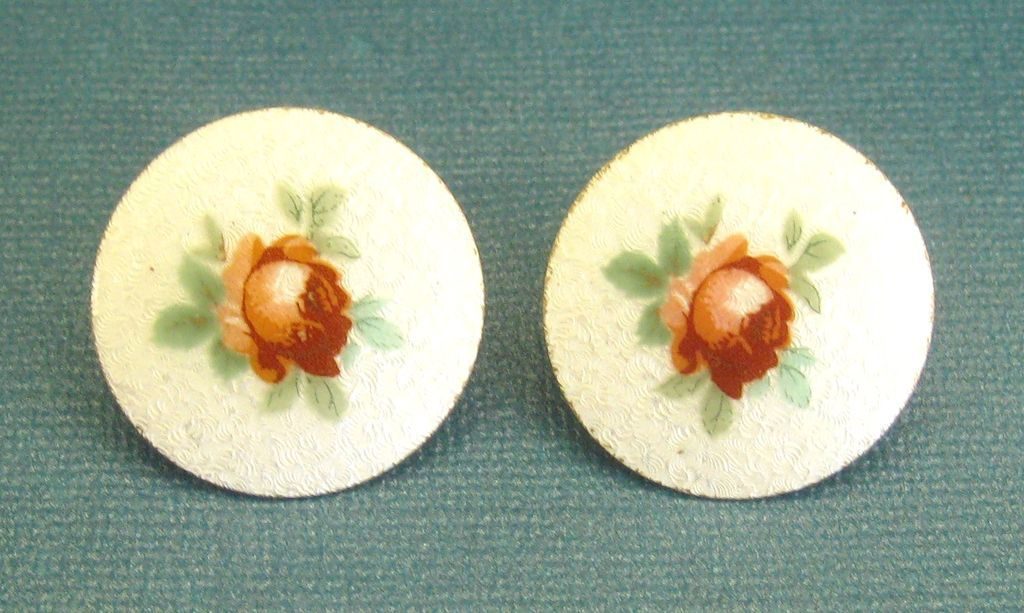 Beautiful Vintage Large Guilloche Enamel Earrings with Roses