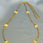 "Wonderful Vintage ""Trunks Up"" Elephant Necklace- 32 inches"