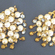 Vintage Runway Dangle Faux Pearl and Blue Rhinestone Cluster Earrings