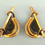 Vintage Modernist Renoir Matisse Black Enamel and Copper Earrings