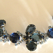 Elegant Sparkling Vintage Deep and Light Blue Prong Set Rhinestone Bracelet