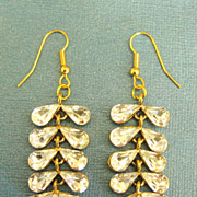 Lovely Sparkling Tear Drop Rhinestone Yellow Gold Tone Dangle Pierced Earrings