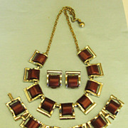 Wonderful Vintage 1970's Brown Thermoset Parure- Necklace, Bracelet and Earrings