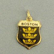 "Vintage Enamel on Sterling Silver ""Boston"" Charm"