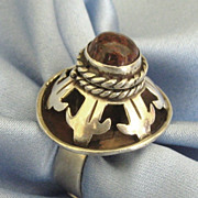 Fascinating Signed Vintage Carnelian Sterling Silver Poison Ring