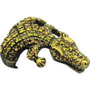 Vintage Rhinestone Alligator Ring- Size 8 1/4