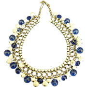 "Fabulous Vintage ""Cha Cha"" Blue & White Milk Glass Bead Necklace"